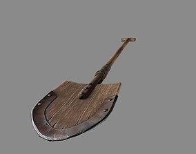 Medieval wooden shovel 3D model