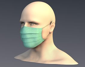 3D asset VR / AR ready Surgical mask 01