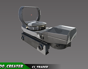 Red Dot Scope lowpoly 3d sight model game-ready
