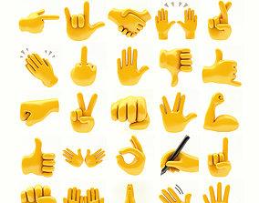 hands emoji megapack 3D asset low-poly