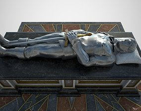 Tomb of a heroic soldier with silver statue 3D model