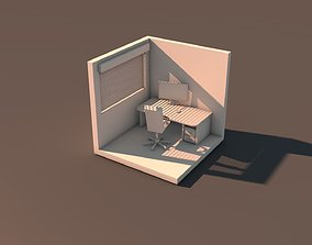 Room with computer 3D print model