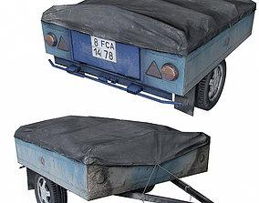 Old Car trailer 3D asset