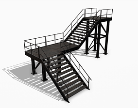 3D model Lowpoly Modular Industrial Stairs