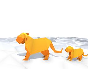 Origami Tiger 3D asset