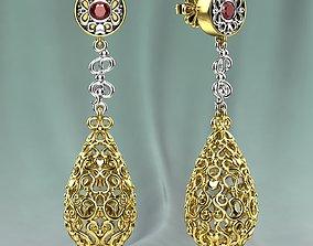 3D print model Golden Luxury Earrings With Diamonds