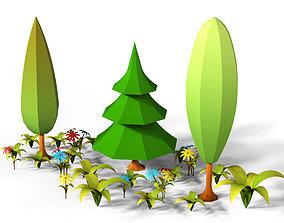 3D asset LowPoly Cartoon Plants Pack