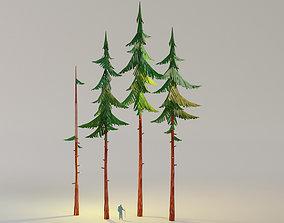 animated Cartoon Tall Forest Spruce model