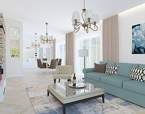 Classic style living room with a long corridor 3D model