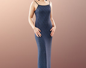 11501 Alexa - Classy Woman in Evening Gown Blue 3D model