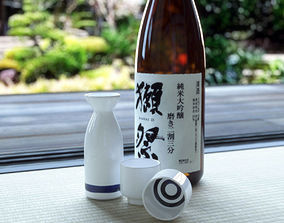 3D model SAKE and cup and bottle