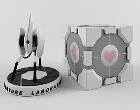 Portal turret and companion cube 3D