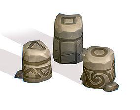 3D asset Handpaint Cartoon Stone Memorial Totem Symbol