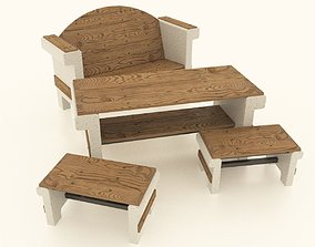 3D asset set of garden furniture made of concrete and wood