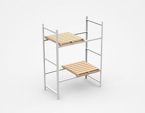Industrial Shelf With Two Wooden Trays 3D model
