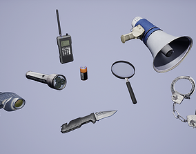 Police Tool Pack 3D model game-ready