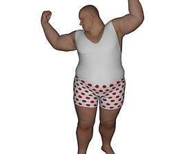 3D model game-ready Realistic Fat Man - Rigged and Dressed