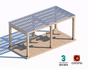 3D model wooden swing sunshade