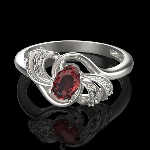 Women's gemstone ring 3D print model