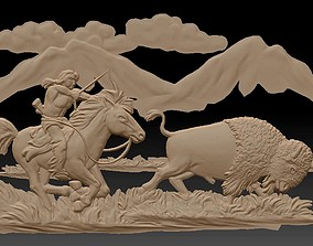 walldecor 3d STL Model for CNC Router buffalo horse man