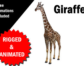 3D asset Giraffe Rigged and Animated