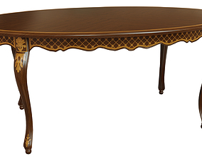 3D model Classic table with inlaid veneer 1800