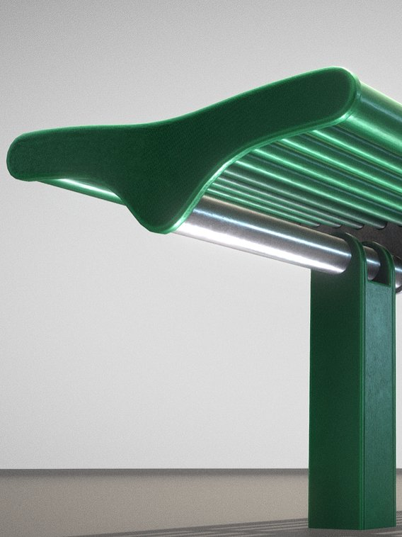Bench 5 Low-Poly Green Painted Metal 2