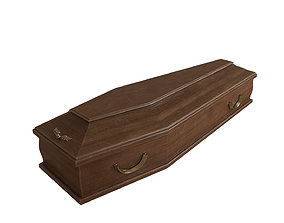 Classic wooden coffin 3D model