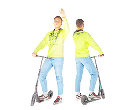 3D asset Young man on a skooter 27
