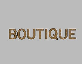Boutuque Sign With Bulb 3D