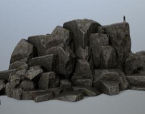 rocks sand snowy 3D model low-poly