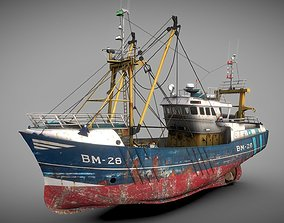 3D asset low-poly ocean Fishing boat