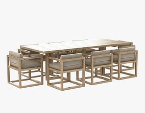 restoration hardware aviara armchair and dining table 3D