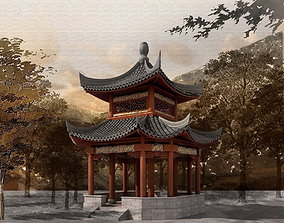 3D model Chinese Two layers of eaves Pavilion