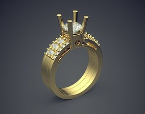 3D print model Engagement Ring With Diamonds CAD-4847