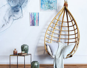 Bamboo hanging chair 3D
