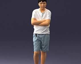 Boy in shorts and t-shirt 0463 3D print ready color