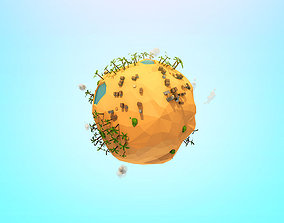Cartoon Low Poly Sand planet 3D asset