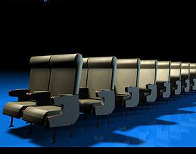 3D model Plane train seats 2