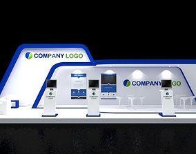 3D Booth Design 12x4 modern Minimalis