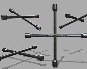 3D asset low-poly Lug Wrench monkey