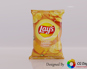 VR / AR ready Lays 3D Model - Cheddar Jalapeno Yellow