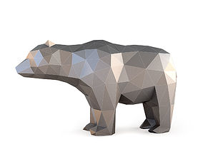 Low Poly Bear Sculpture 3D print model