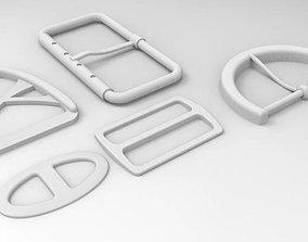 Set of 5 Shoe buckles 3D model