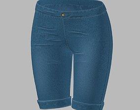 Long denim shorts for female character 3D