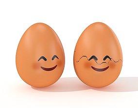 Egg Cracked Emoji N014 3D model