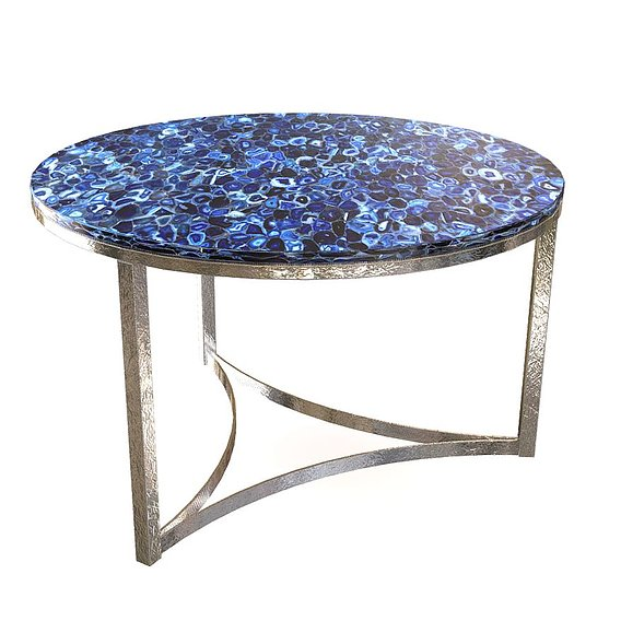 Round Table with blue agathe marble top