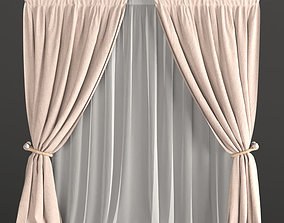 3D model Beige curtains with a garter on the rope