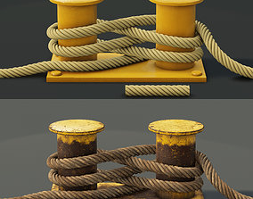 3D model Mooring Sea Bollard with Rope Knot