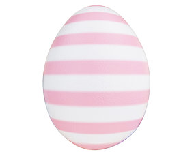 Striped Easter egg pink and white 3D
